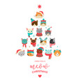 cute xmas tree with cats heads vector image vector image