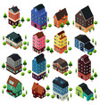 different isometric house buildings vector image vector image