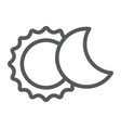 eclipse line icon space and astronomy solar vector image