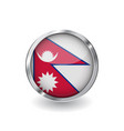 flag of nepal button with metal frame and shadow vector image vector image