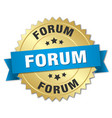 forum round isolated gold badge vector image vector image