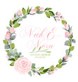 fresh pink floral garden watercolor wreath vector image vector image