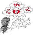girl with broken heart vector image vector image