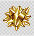 golden gift box ribbon bow 3d isolated icon vector image
