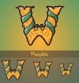 Halloween decorative alphabet - W letter vector image