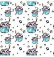 hand drawn bithday cupcake seamless pattern vector image vector image