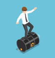 isometric businessman balancing on rolling oil vector image vector image