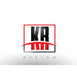 kr k r logo letters with red and black colors and vector image vector image