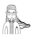line woman with hairstyle and glasses vector image