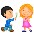 Little boy kneels on one knee giving flowers to gi vector image