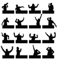 man in various poses on black silhouette vector image vector image
