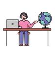man work in travel agency spherical earth globe vector image vector image