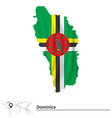 Map of Dominica with flag vector image vector image