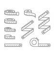 measuring tape icons - reel tape measure and vector image vector image