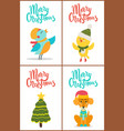 merry christmas and images vector image vector image