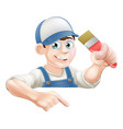 painter pointing at banner vector image vector image