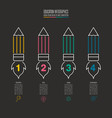 pencil and rocket symbol timeline infographic vector image