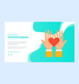 presentation palms with heart crowdfunding vector image vector image