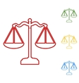 Scales balance Set of line icons vector image