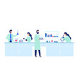 scientific research scientist people wearing lab vector image