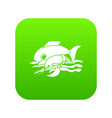sea food icon green vector image