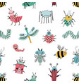 seamless pattern with funny bug background vector image