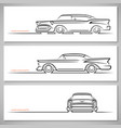 set of vintage classic car silhouettes vector image