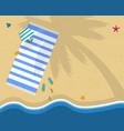 top view of sea beach with towel bag flip flops vector image vector image