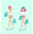 two young hipster girls going down street vector image vector image