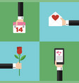 valentines day concept modern design flat set vect vector image