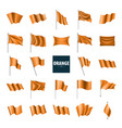 waving the orange flag on a white background vector image vector image