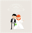 Wedding invitation with newlyweds on it vector image vector image