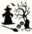 witch pumpkin lantern tree broom and bat on vector image