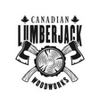 woodworks and lumberjack emblem with crossed axes vector image vector image