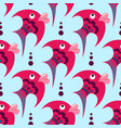 pink cartoon fish on a blue background vector image