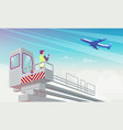 airport manager looks at plane flat vector image vector image