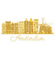 amsterdam city skyline golden silhouette vector image vector image
