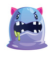 angry purple and blue cartoon character with pink vector image