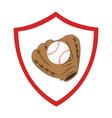 baseball sport glove emblem icon vector image vector image