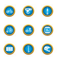 bicycle path icons set flat style vector image vector image