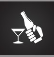 birthday alcohol icon on black background for vector image