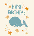 birthday card with whale fish vector image vector image