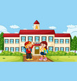 boy and girl at school vector image vector image