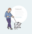 boy walk dog puppy on leash promenade with pet vector image