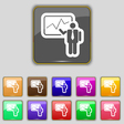 businessman making report icon sign Set with vector image