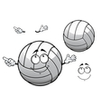 Cartooned smiling white volleyball ball vector image