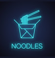 chinese noodles in paper box and chopsticks neon vector image vector image