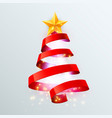 christmas tree made red ribbon on bright vector image vector image