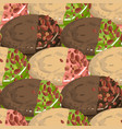 circular vanilla and chocolate pies with nuts and vector image