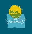 concept summer card with sea sun and green tree vector image vector image